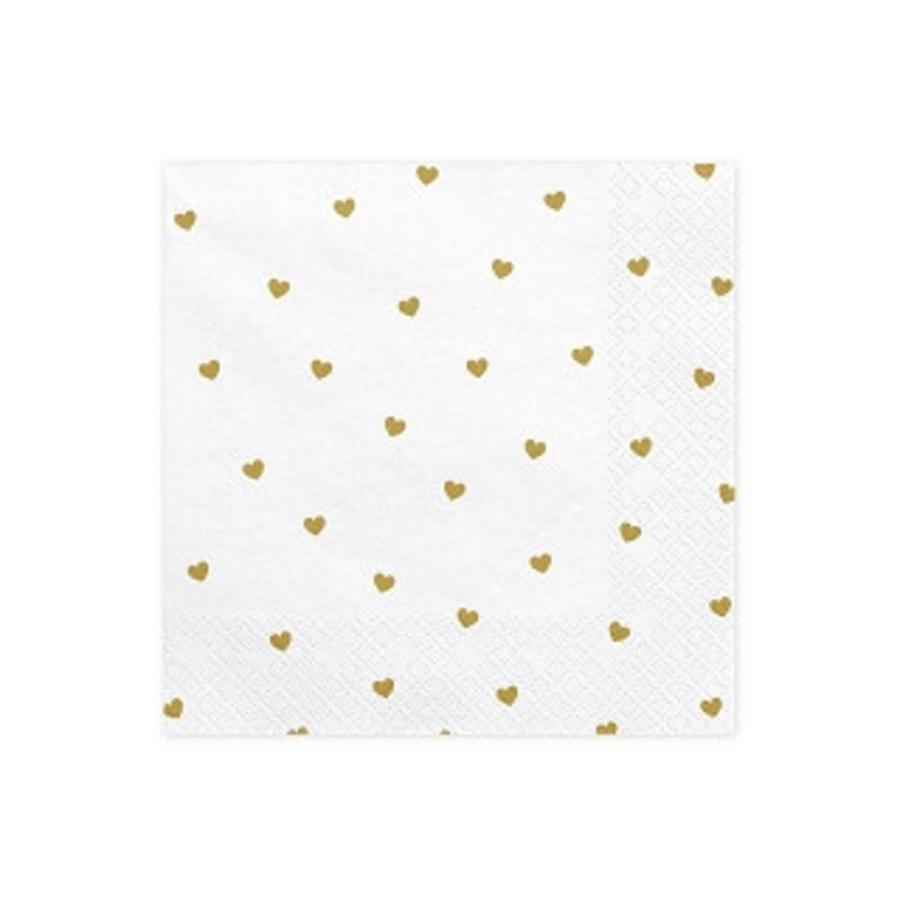Serviettes en papier coeur or (20 pcs)-1