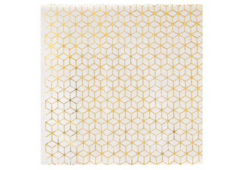 Servet geometrische kubus goud (20 st.)
