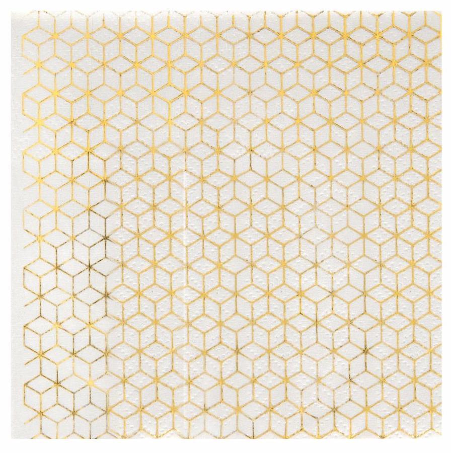 Servet geometrische kubus goud (20 st.)-1
