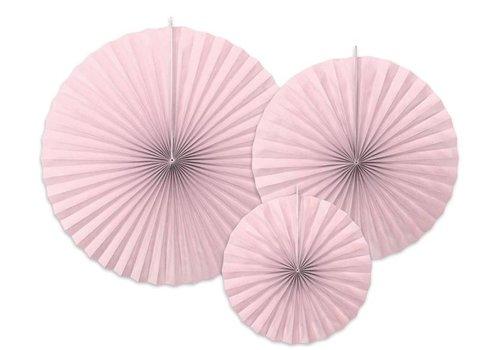 Papieren waaiers roze (3 stuks)