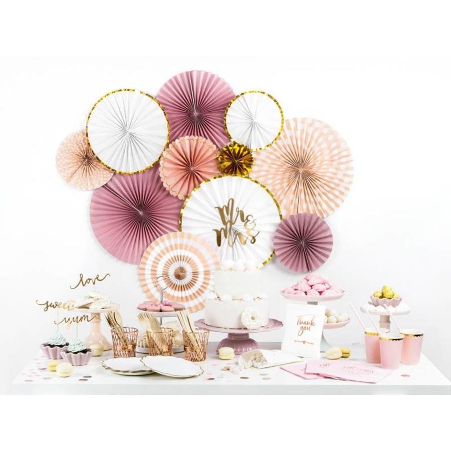 Papieren waaiers roze (3 stuks)-2