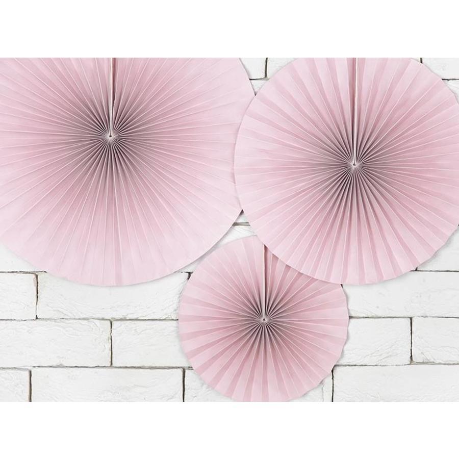 Papieren waaiers roze (3 stuks)-4
