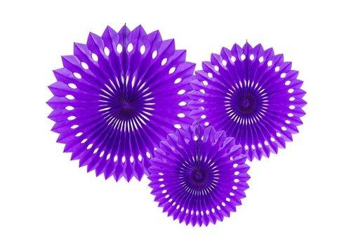Papieren tissue waaiers violet (3 stuks)
