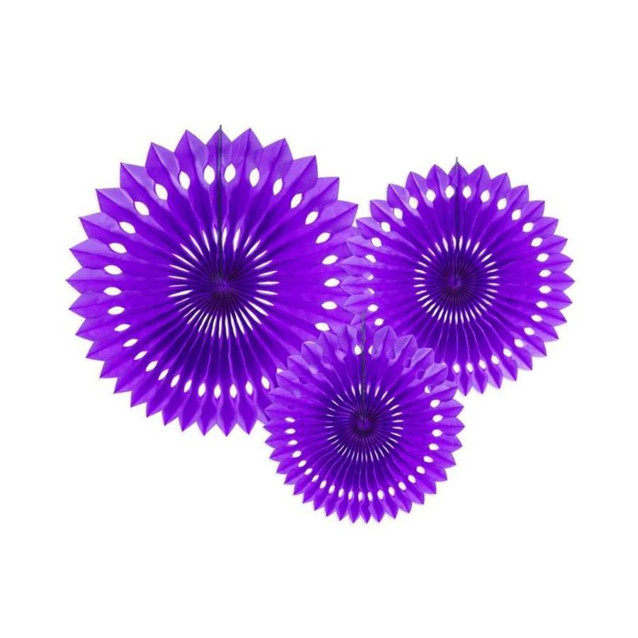 Papieren tissue waaiers violet (3 stuks)-1