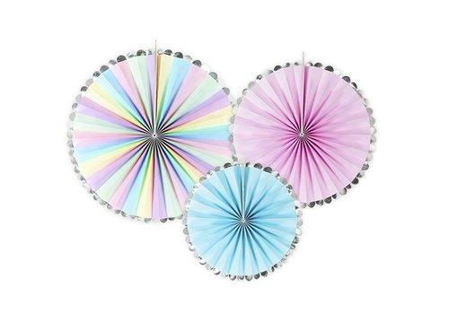 Papieren waaiers regenboog (3 stuks)
