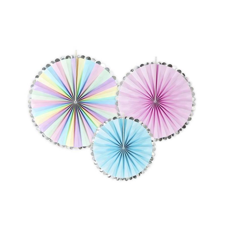 Papieren waaiers regenboog (3 stuks)-1