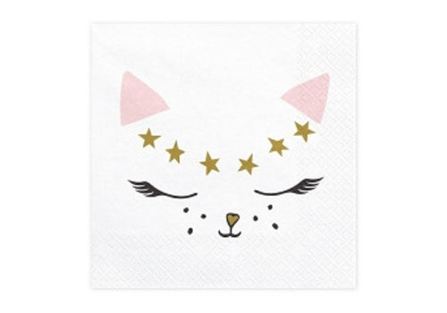 Serviette Chat rose (20 pcs)