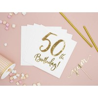 thumb-Serviettes en papier 50 ans or (20 pcs)-2