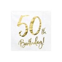 thumb-Serviettes en papier 50 ans or (20 pcs)-1