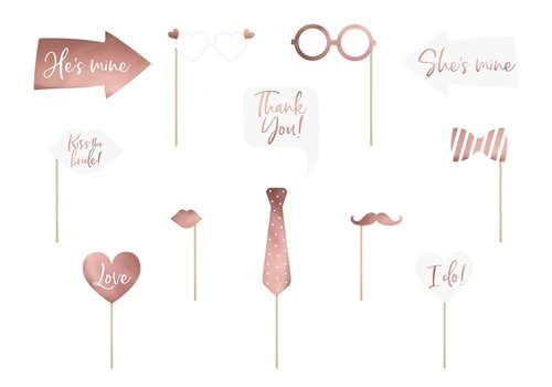 Photo props wedding rosé (12 pcs)