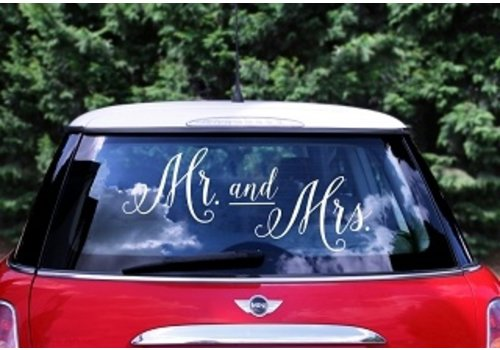 Autosticker Mr and Mrs