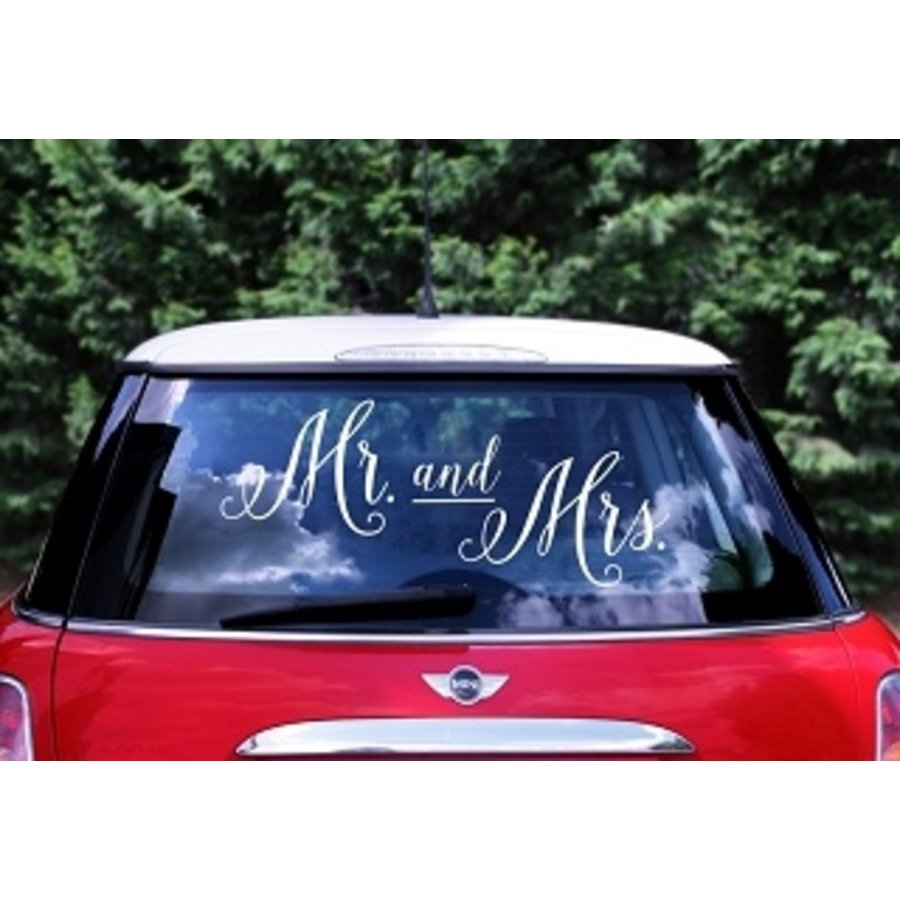 Autosticker Mr and Mrs-1