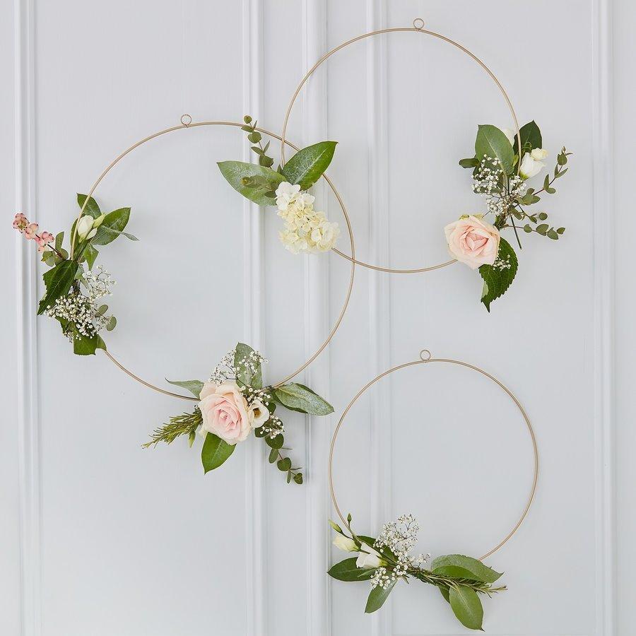 Cerceaux a décorer de fleurs d'or (3 pieces)-2
