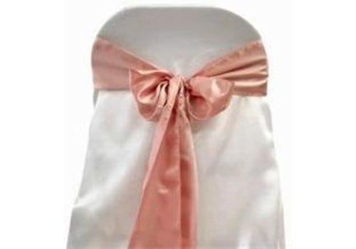 Oud roze satijnen stoelstrik (verhuur)
