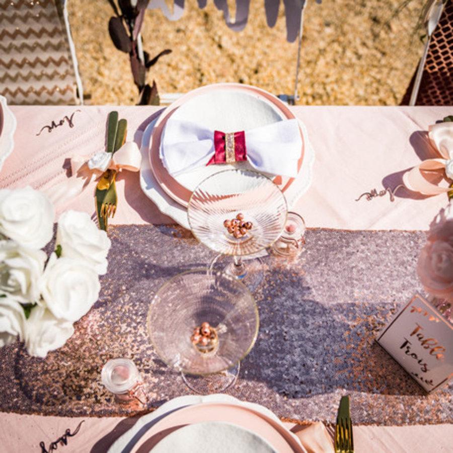 Chemin de table  sequins rose gold 30 x 250 cm-3