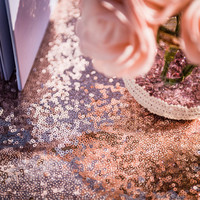thumb-Chemin de table  sequins rose gold 30 x 250 cm-4