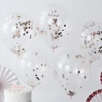 thumb-Confetti ballon rosé goud (5 stuks)-2