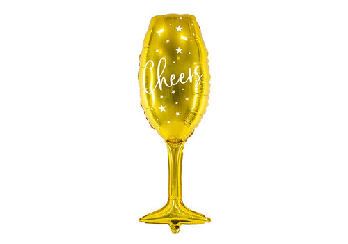 Folieballon champagneglas goud Cheers