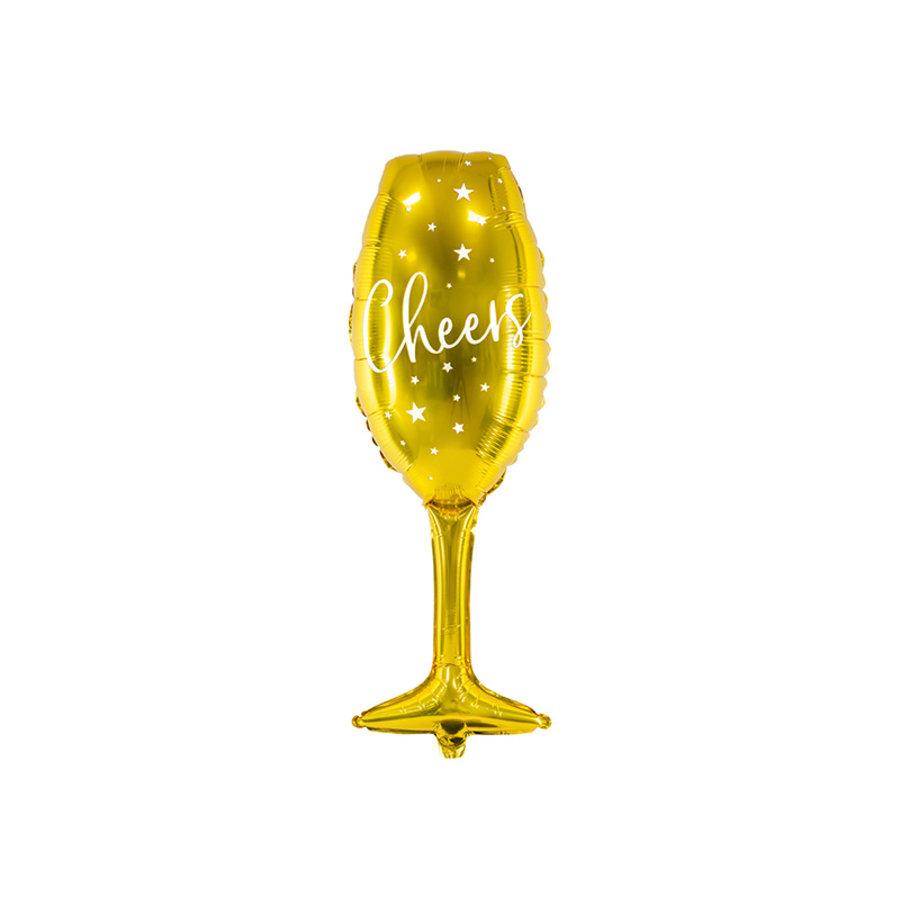 Verre à champagne en aluminium ballon Cheers 80cm-1