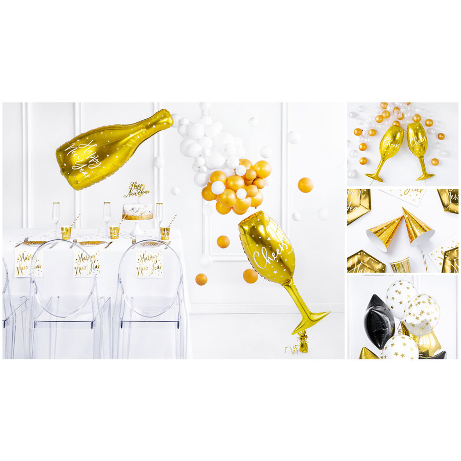 Folieballon champagnefles goud Happy New Year-3