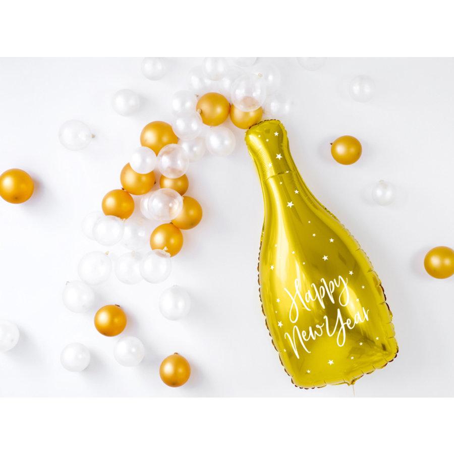 Folieballon champagnefles goud Happy New Year-2