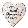 Perfect Decorations Houten Bordje Just Married wit