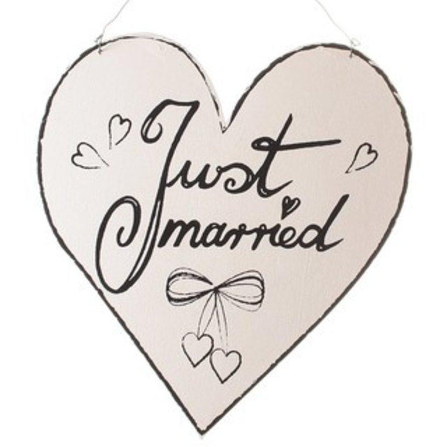 Pancarte coeur bois Just Married-1