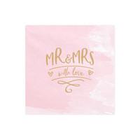 thumb-Servetten roze Mr and Mrs with love (20 stuks)-1