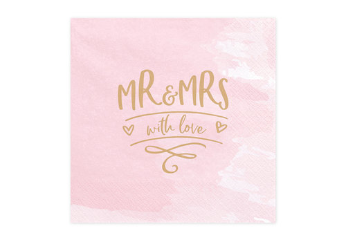 Servetten roze Mr and Mrs with love (20 stuks)