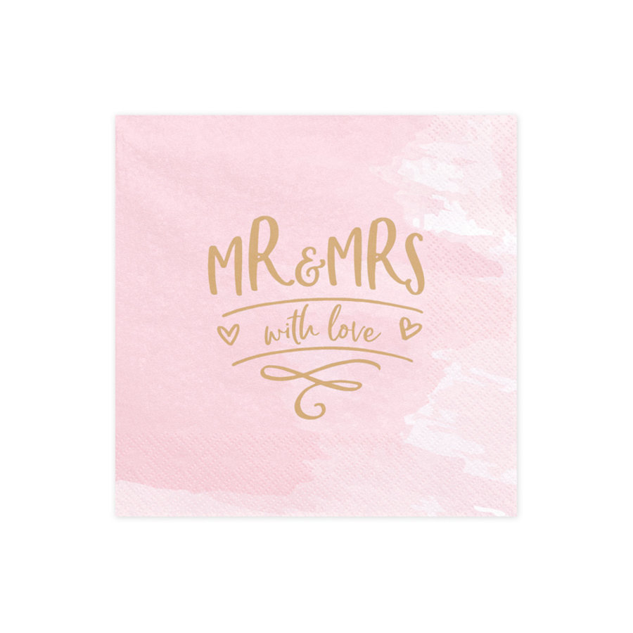 Serviette rose Mr and Mrs with love (20 pcs)-1
