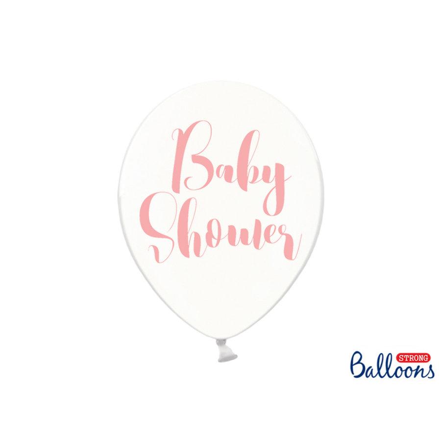 Ballonen baby shower roze (6 stuks)-1