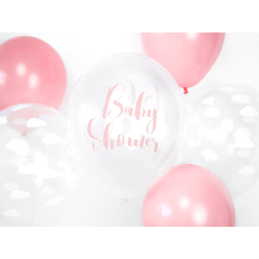 Ballons baby shower rose (6 pièces)-2
