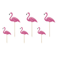 thumb-Cake topper flamingo (6 pcs)-1