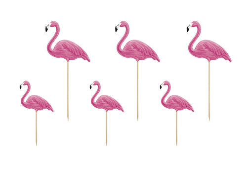 Cake topper flamingo (6 pcs)