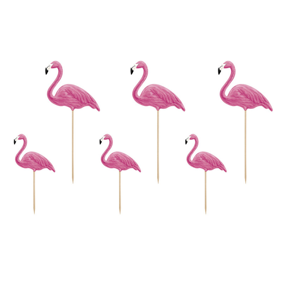 Cake topper flamingo (6 pcs)-1