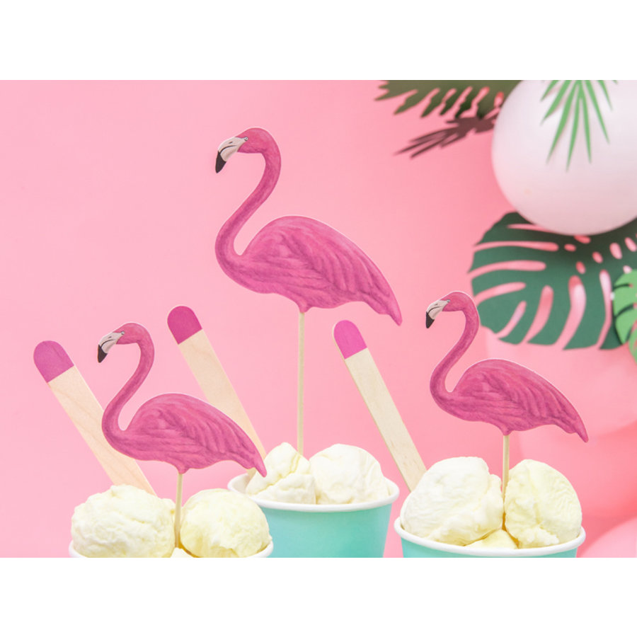 Cake topper flamingo (6 pcs)-2
