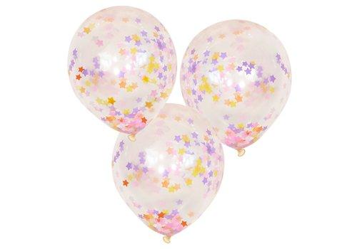 Ballons confettis étoiles pastel (5pcs)
