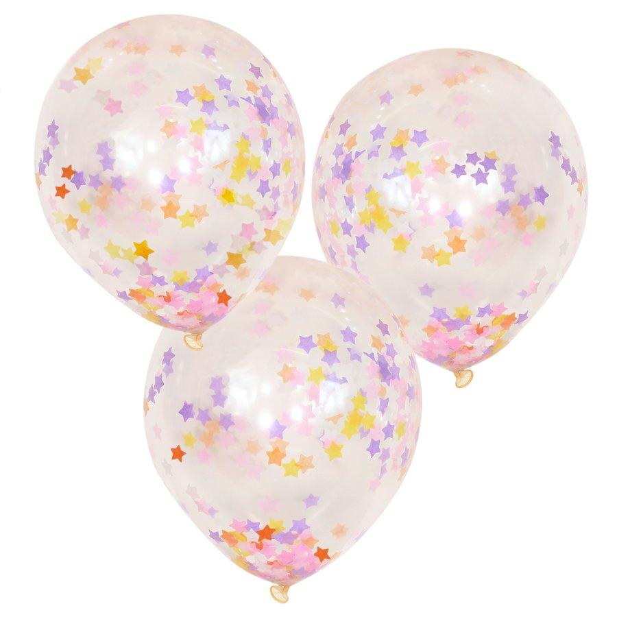 Ballons confettis étoiles pastel (5pcs)-1