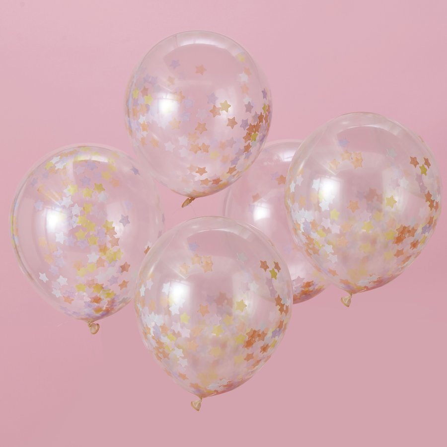 Confettiballon  ster pastel (5 stuks)-2