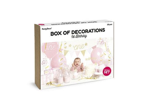 Partybox 1er anniversaire rose