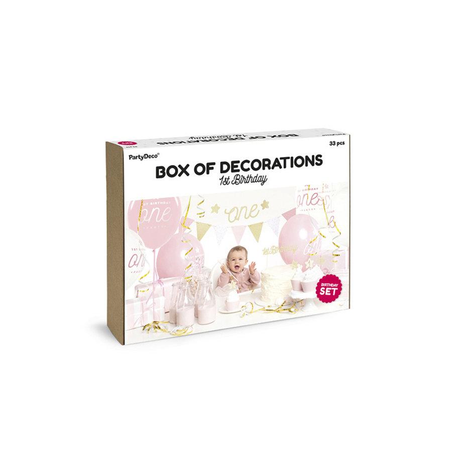 Partybox 1er anniversaire rose-1