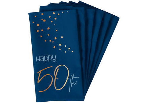 Servet Happy 50th  blauw  (10 st.)