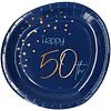 Perfect Decorations Assiettes Happy 50th  blue (8 pcs)