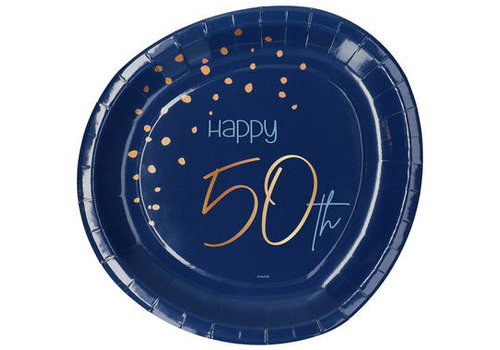 Bordje Happy 50th  blauw  (8 st.)