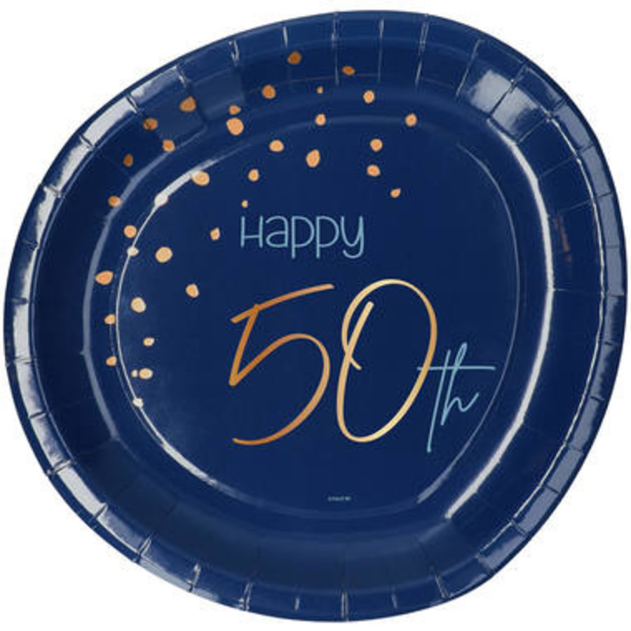Bordje Happy 50th  blauw  (8 st.)-1