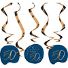 Perfect Decorations Swirl Happy 50th  blauw (5 st)