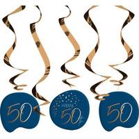 Swirl Happy 50th  blauw (5 st)