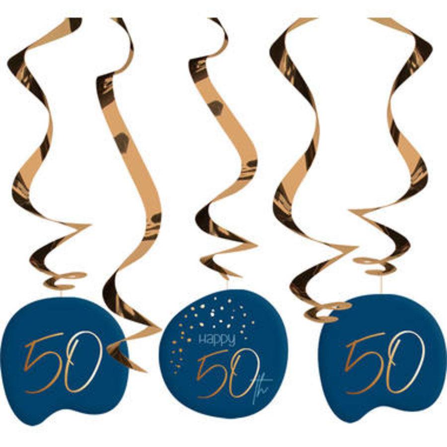 Swirl Happy 50th  blauw (5 st)-1