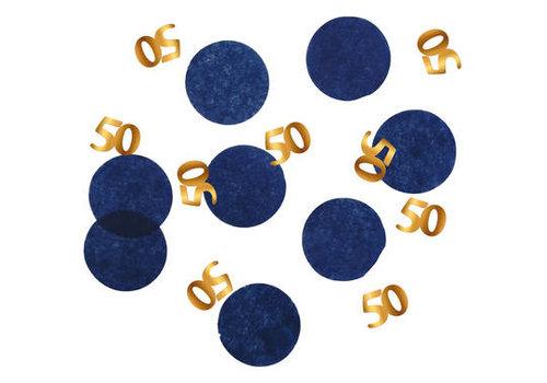 Confettis de table or et bleu 50