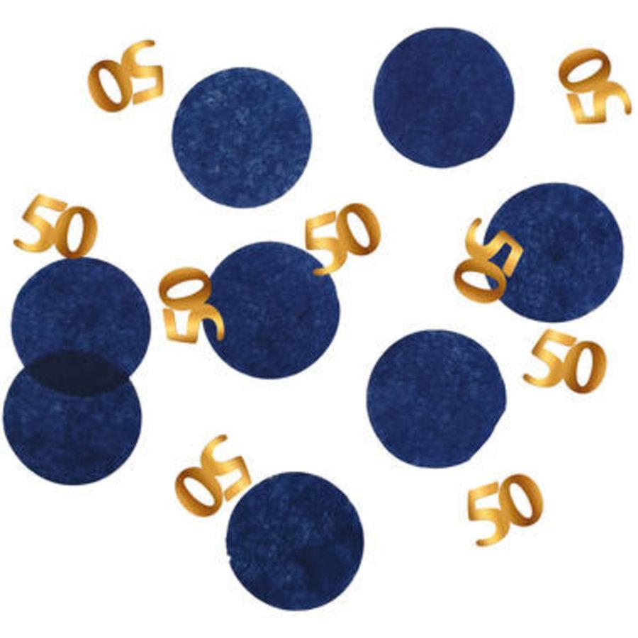 Tafelconfetti blauw met goud 50-1